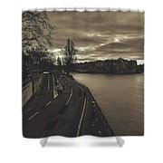 Walking Along The Seine At Sunset Shower Curtain