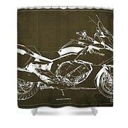 2016 Bmw K1600gt Blueprint, Original Motorcyclkes Blueprints, Bmw Artworks, Vintage Brown Background Shower Curtain