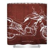 2018 Kawasaki Versys 1000 Lt Abs Blueprint Old Vintage Red Background Original Artwork Shower Curtain