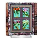 Antique Orchids Quatro On Rusted Metal And Weathered Wood Plank Shower Curtain