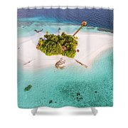 Aerial Drone View Of A Tropical Island, Maldives Shower Curtain