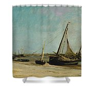 Boats On The Seacoast At Etaples  Shower Curtain