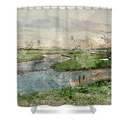 Digital Watercolor Painting Of Beautiful Dawn Landscape Over Eng Shower Curtain