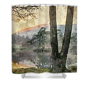 Digital Watercolor Painting Of Beautiful Landscape Image Of Tarn Shower Curtain