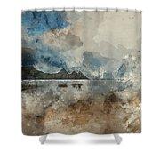 Digital Watercolor Painting Of Beautiful Summer Sunrise Landscap Shower Curtain