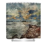 Digital Watercolor Painting Of Sunrise Over Rocky Coastline On M Shower Curtain