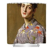 Girl In A Japanese Costume Shower Curtain