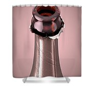 Pink Champagne Bottle Open Neck Shower Curtain