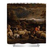 Shepherds And Sheep  Shower Curtain