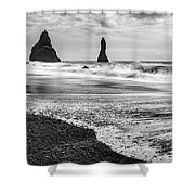 The Dramatic Black Sand Beach Of Reynisfjara. Shower Curtain
