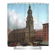The North Dutch Church  Fulton And William Streets  New York  Shower Curtain