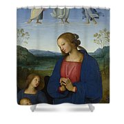 The Virgin And Child With An Angel  Shower Curtain