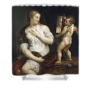 Venus And Cupid  Shower Curtain