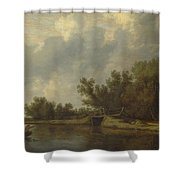 A River Landscape With Fishermen  Shower Curtain