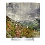 Digital Watercolor Painting Of Landscape Image Of View From Prec Shower Curtain