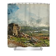 Digital Watercolor Painting Of Stunning Autumn Sunset Landscape  Shower Curtain