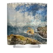 Digital Watercolor Painting Of Stunning Sunrise Landscape Image  Shower Curtain