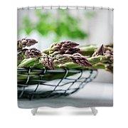 Fresh Green Asparagus Shower Curtain