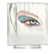 Portrait Illustration- Watercolor Painting Shower Curtain