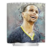 Portrait Of Stephen Curry Shower Curtain