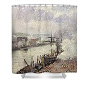 Steamboats In The Port Of Rouen  Shower Curtain