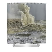 Stunning Dangerous High Waves Crashing Over Harbor Wall During W Shower Curtain
