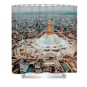 Stupa Temple Bodhnath Kathmandu, Nepal From Air October 12 2018 Shower Curtain by Raimond Klavins