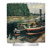 Barges At Pontoise  Shower Curtain