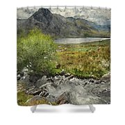 Digital Watercolor Painting Of Stunning Landscape Image Of Count Shower Curtain
