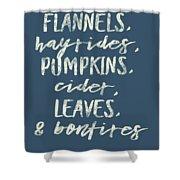 Flannels Hayrides And Pumpkins Fall Tshirt Shower Curtain