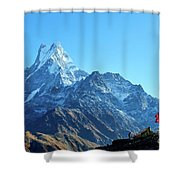Machapuchare Mountain Fishtail In Himalayas Range Nepal Shower Curtain by Raimond Klavins