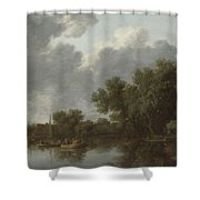 River Scene  Shower Curtain