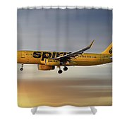 Spirit Airlines Airbus A320-232 Shower Curtain