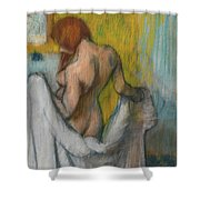 Woman With A Towel  Shower Curtain