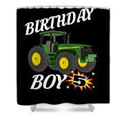 5 Years Old Birthday Design Green Tractor Gifdesign  Shower Curtain