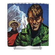 Hillary And Tensing In Front Of Mount Everest Shower Curtain