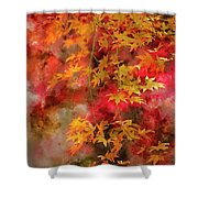 Digital Watercolor Painting Of Beautiful Colorful Vibrant Red An Shower Curtain
