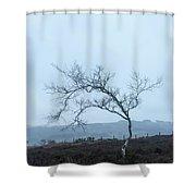 Moody Winter Landscape Image Of Skeletal Trees In Peak District  Shower Curtain