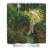 Bather In The Woods  Shower Curtain
