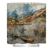 Digital Watercolor Painting Of Beautiful Sunset Landscape Image  Shower Curtain