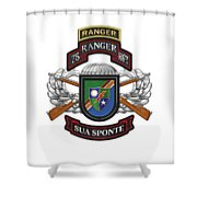 75th Ranger Regiment - Army Rangers Special Edition Over White Leather Shower Curtain