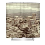 Beautiful Medieval Spanish Village In Sepia Tone Shower Curtain