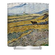 Enclosed Field With Ploughman -  Shower Curtain