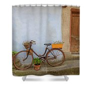 A Bicycle At Number 10 Shower Curtain
