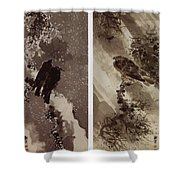 A Black Hawk And Two Crows Shower Curtain