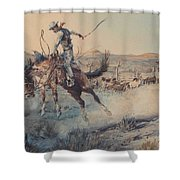 A Bucking Bronco, Edward Borein Shower Curtain