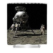A Cosmonaut On The Moon Shower Curtain