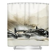 A Crippled Halifax Bomber Lands On The Ice Shower Curtain
