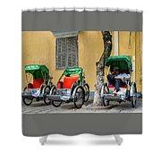 A Cyclo Driver Takes A Nap, In Hoi An, Vietnam. Shower Curtain