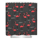 A Flamboyance Of Flamingos  Shower Curtain